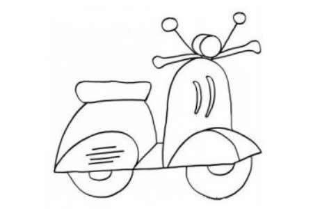 漂亮的小摩托车简笔画