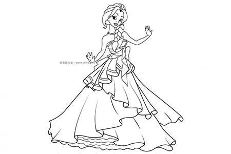 跳舞的公主简笔画图片