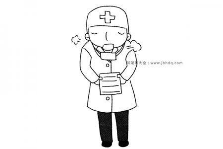 疲惫的医生简笔画图片