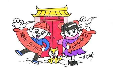 狗年春节简笔画图片