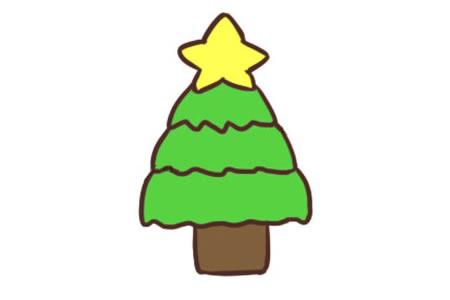 简单的圣诞树简笔画教程