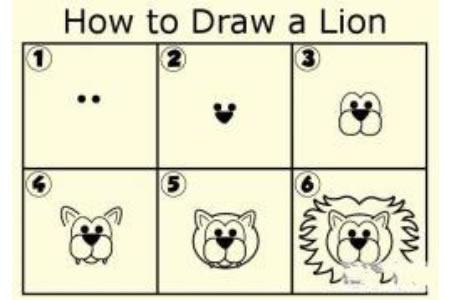 狮子头部简笔画教程