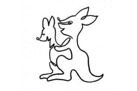 一笔画袋鼠的画法