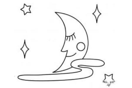 夜晚的月亮简笔画图片