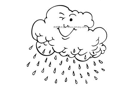 卡通云朵洒水