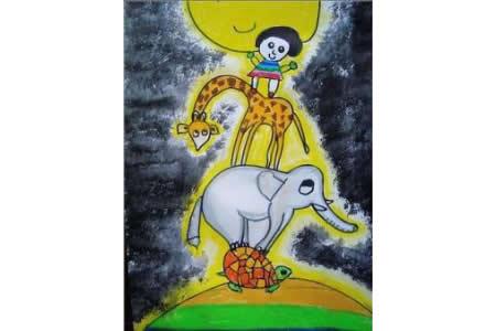 中秋节主题儿童画-月亮的味道