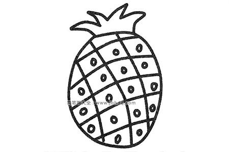 简单的菠萝简笔画步骤