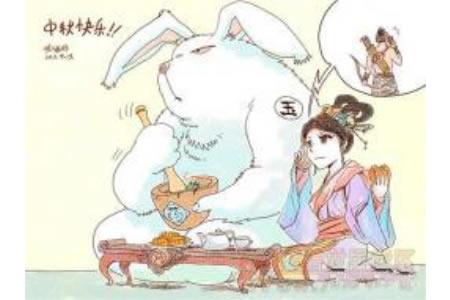 中秋节主题儿童画-嫦娥玉兔