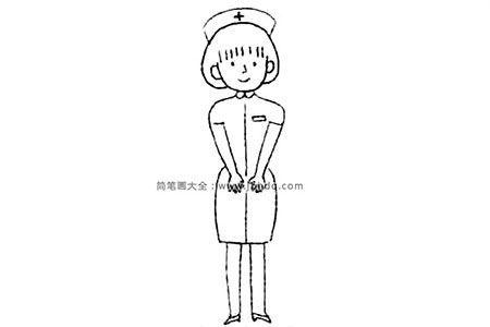 可爱的护士简笔画教程