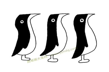 小企鹅排排队简笔画图片