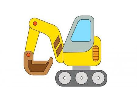 挖掘机简笔画及步骤图