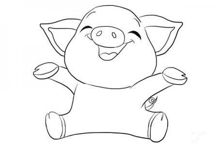 开心的小猪怎么画