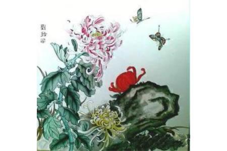 菊石图工笔花鸟画精品欣赏