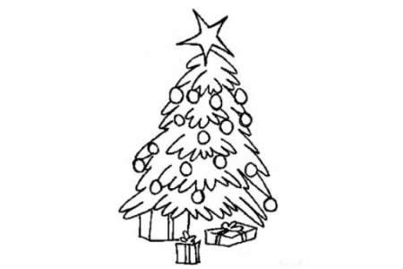 植物简笔画 简单易学的圣诞树简笔画图片