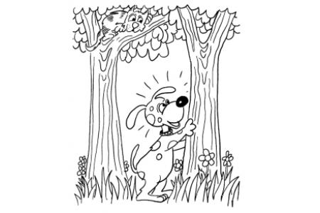 小狗和小猫在森林里玩耍