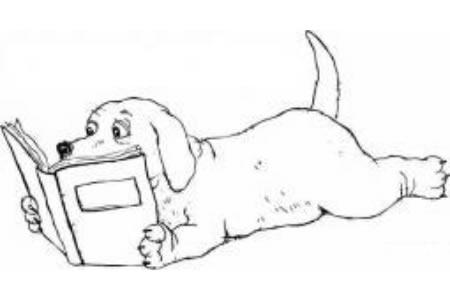 看书的小狗简笔画