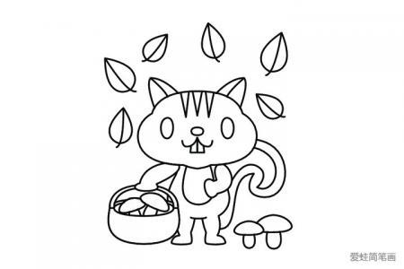 采蘑菇的小猫咪