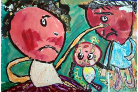 儿童绘画作品--爸爸妈妈别吵了