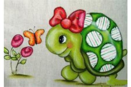 扎蝴蝶结的小乌龟卡通动物油画作品分享