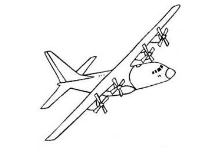 飞机简笔画大全 C-130运输机