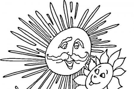 开心的向日葵和太阳