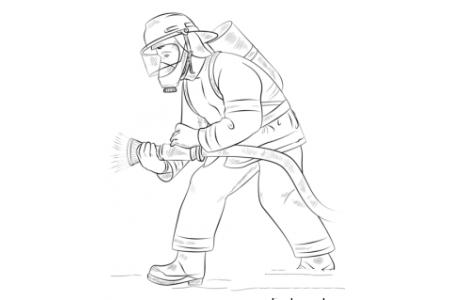 如何画消防员