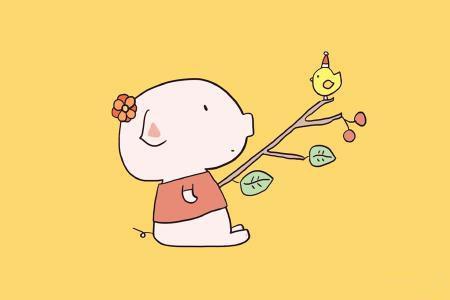 一组可爱小猪简笔画
