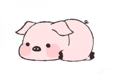 趴在地上的小猪怎么画