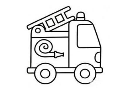 儿童学画消防车简笔画