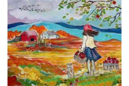 去郊外摘苹果画秋天的画优秀作品欣赏