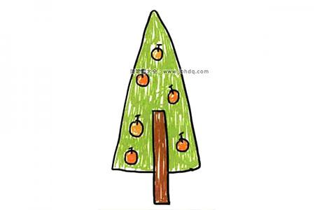 三角形苹果树简笔画