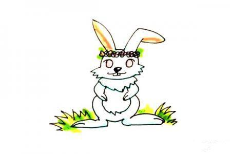 戴花环的兔子