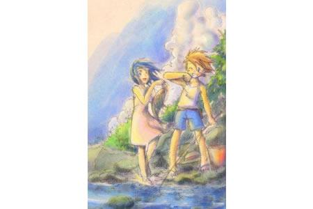 小河边钓鱼记四年级暑假生活绘画作品