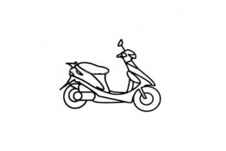 踏板摩托车简笔画