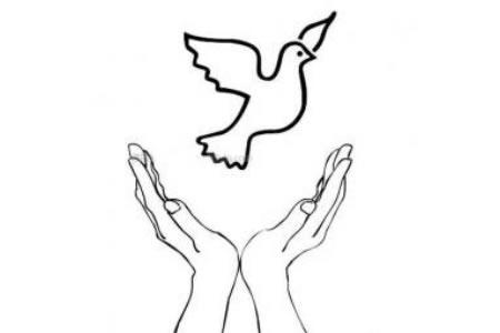 放飞和平鸽简笔画