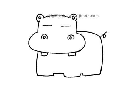 卡通河马简笔画