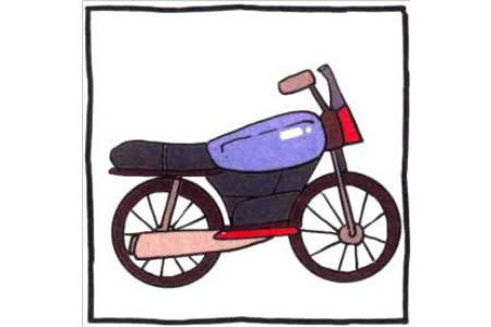 四步画出可爱简笔画 风驰电掣的摩托车