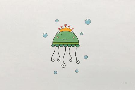 可爱的卡通水母简笔画