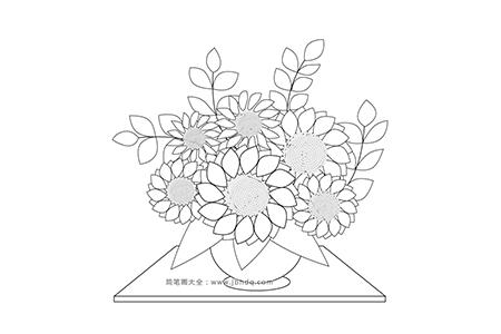 向日葵插花图片简笔画