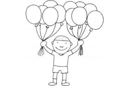 拿着气球的男孩简笔画图片