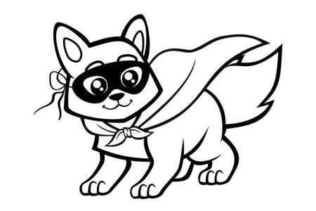 戴面具的小狐狸简笔画图片