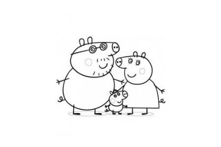 动漫人物简笔画 粉红猪小妹一家