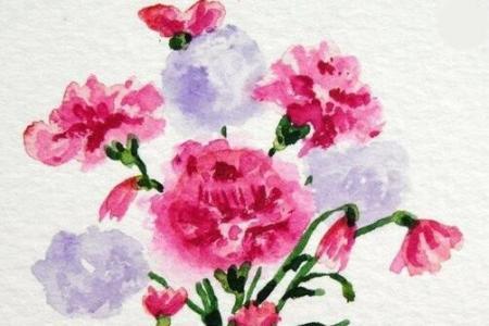 母亲节送给妈妈的画作品之花瓶里的康乃馨
