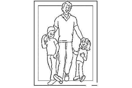 父亲节简笔画素材 爸爸和儿子女儿