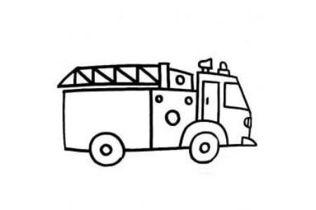 儿童消防车简笔画图片