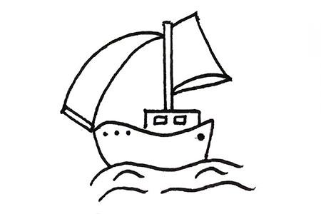 3张海上的帆船简笔画