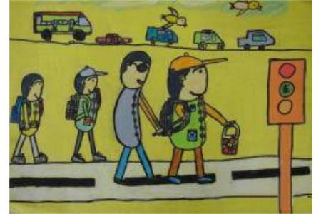 扶盲人过马路小学生学雷锋的画展示