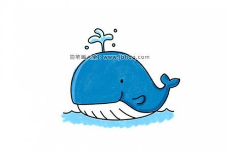 喷水的卡通鲸鱼简笔画