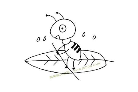 小蚂蚁过河简笔画图片