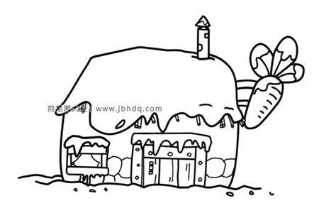 房顶上铺满雪的胡萝卜房子